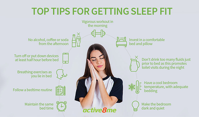 Active8me top tips for getting sleep fit infographic