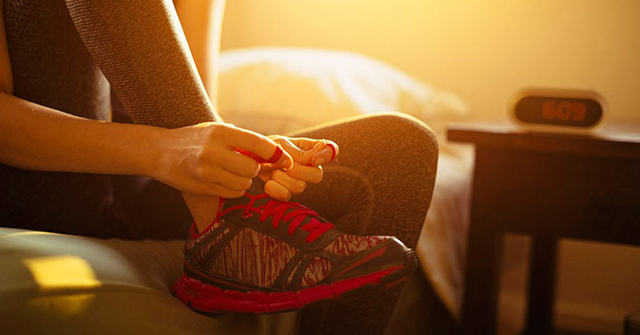 Active8me 5 surprising ways exercise can help you beat stress now girl tying shoe laces