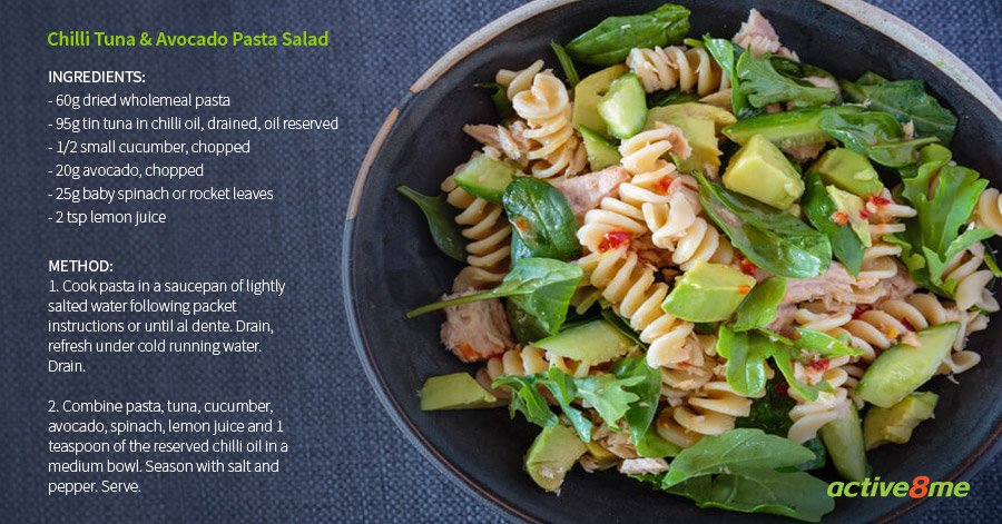 Active8me good carb bad carb the myth about carbs busted chilli tuna avocado pasta salad