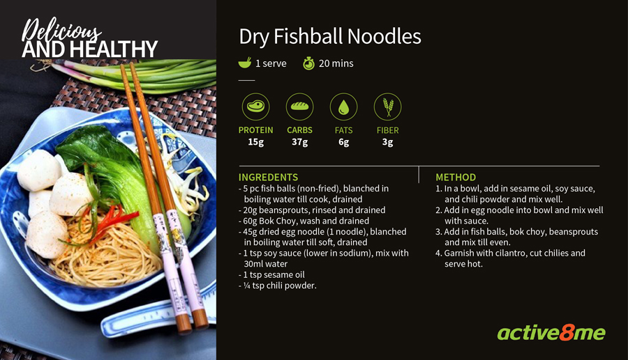 Active8me recipe card dry fishball noodles