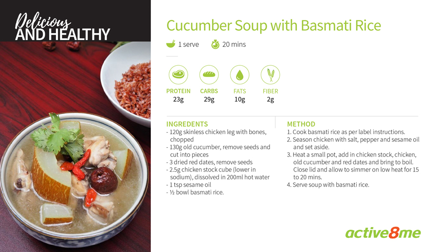 Active8me recipe card old cucumber chicken soup